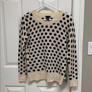 Cream with black polka dots 100% cashmere sweater